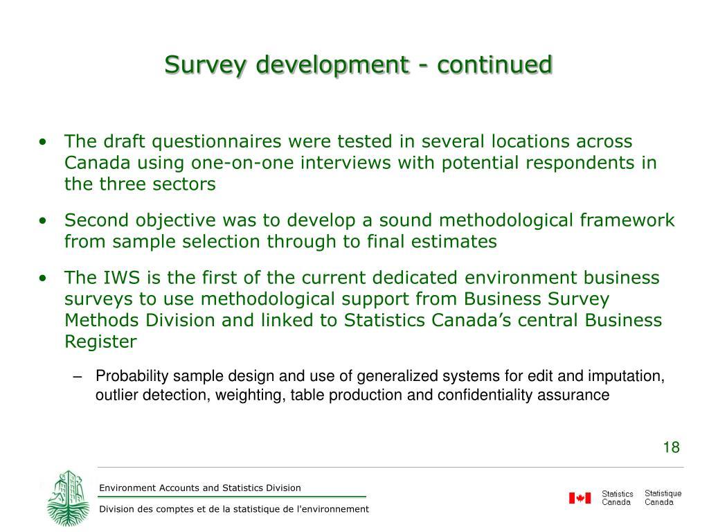 Survey development - continued