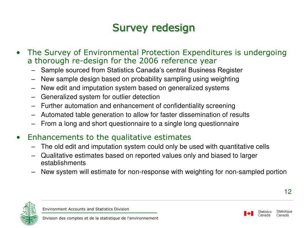Survey redesign