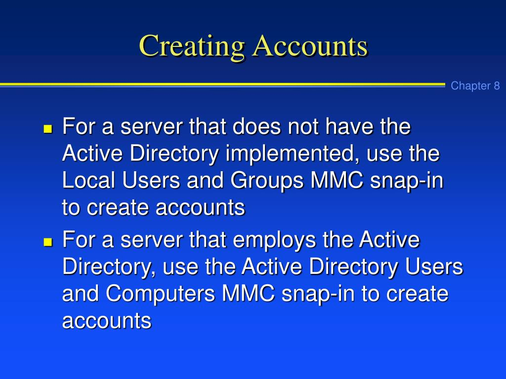 Creating Accounts