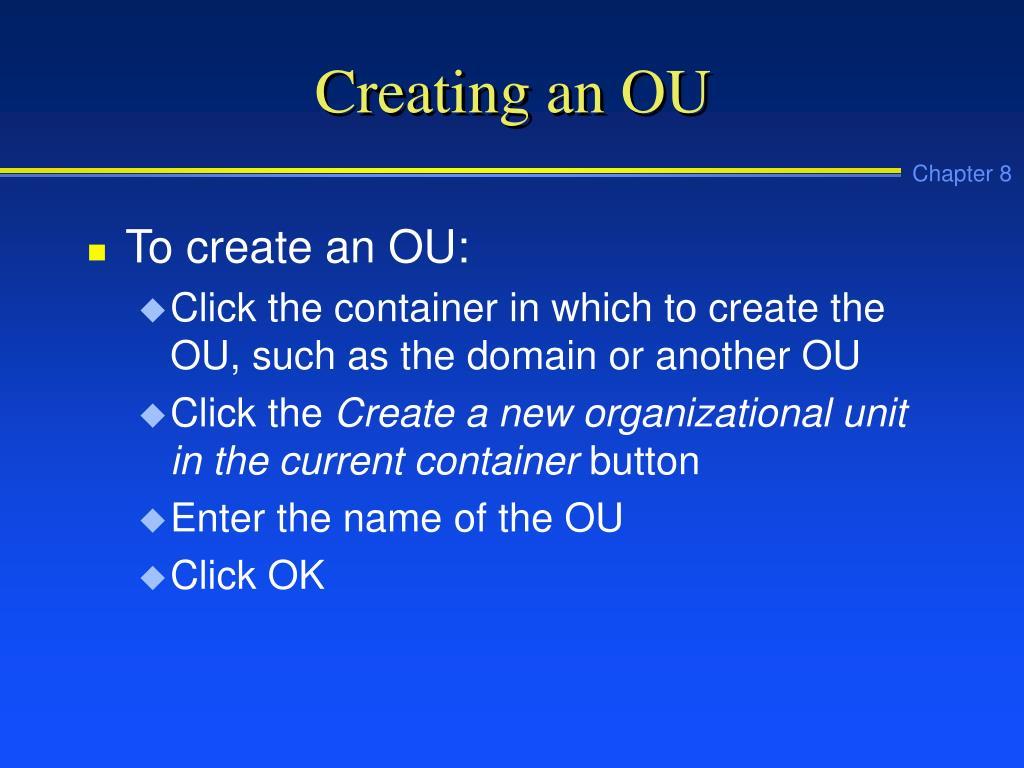Creating an OU