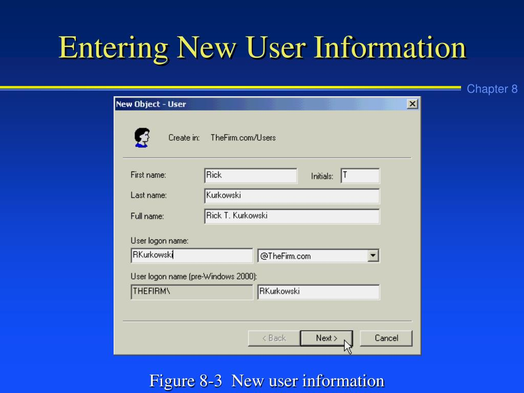 Entering New User Information