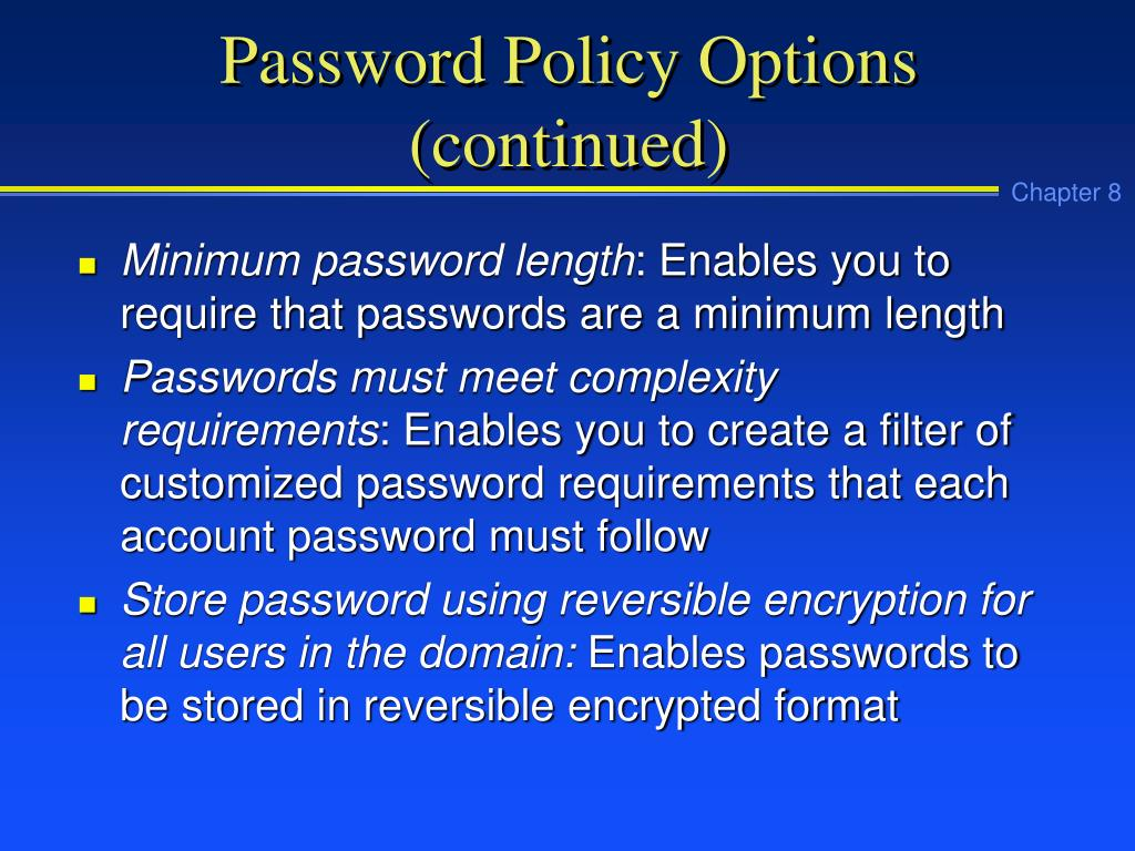 Password Policy Options (continued)