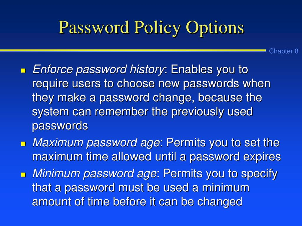 Password Policy Options