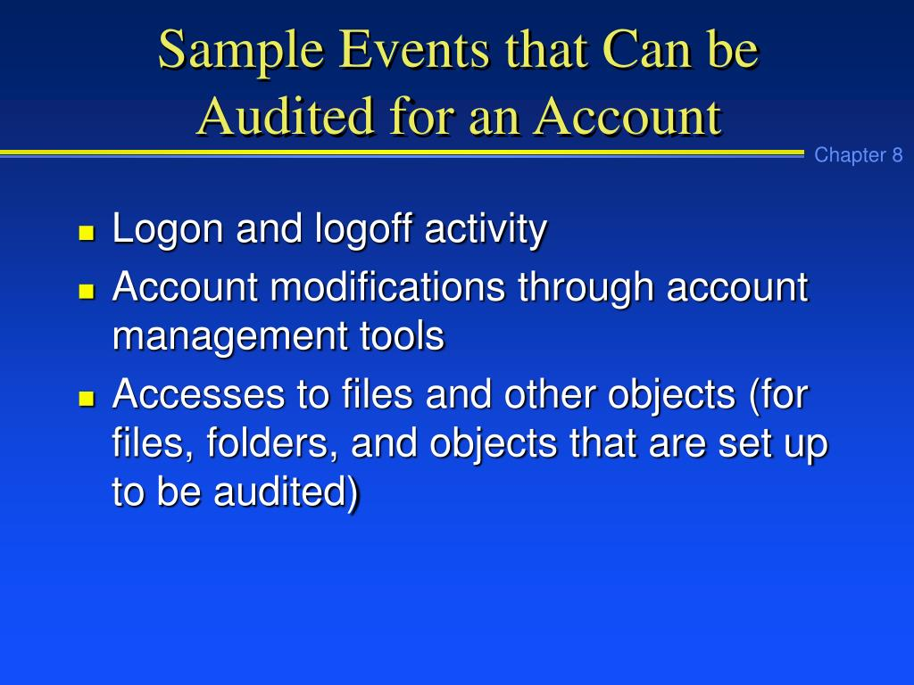 Sample Events that Can be Audited for an Account