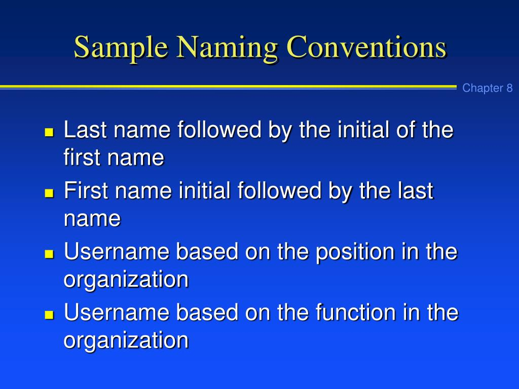 Sample Naming Conventions