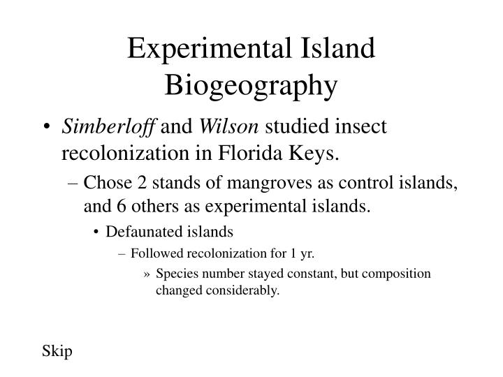 Experimental Island Biogeography