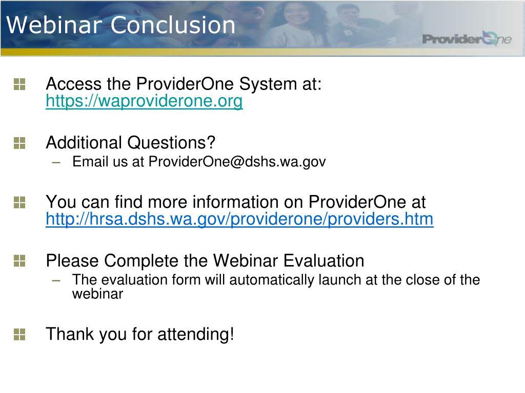 Webinar Conclusion