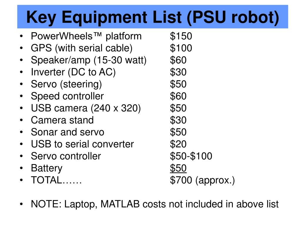 Key Equipment List (PSU robot)