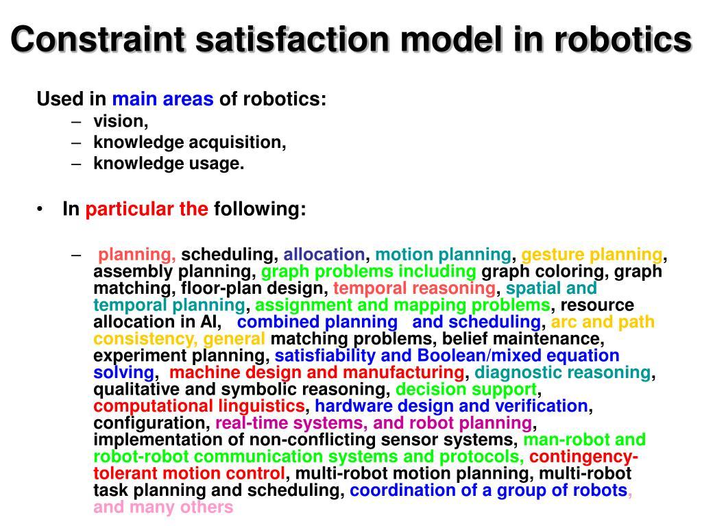 Constraint satisfaction model in robotics