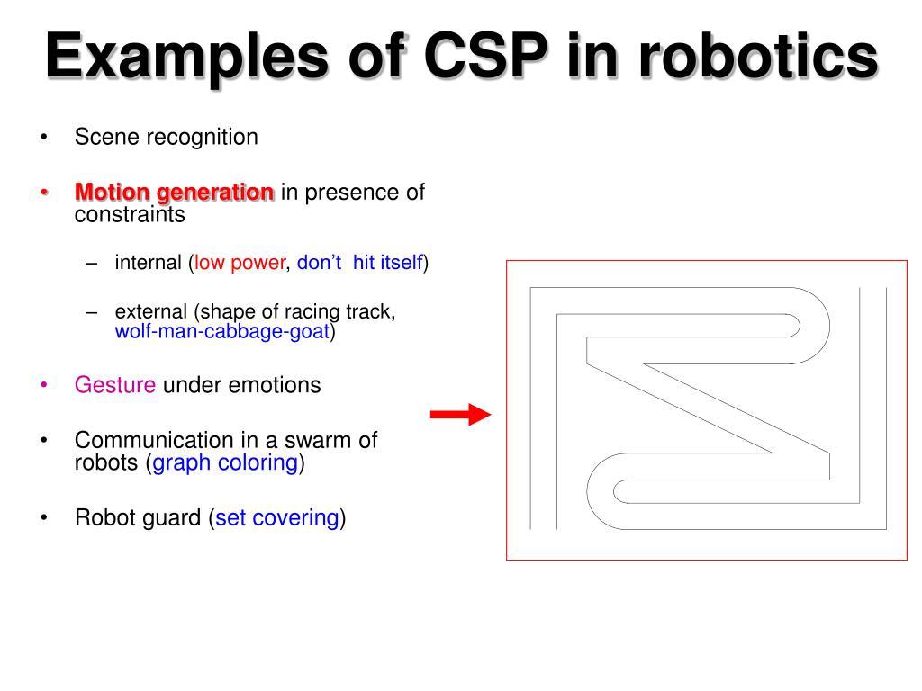 Examples of CSP in robotics