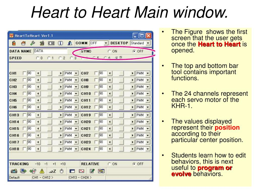 Heart to Heart Main window.