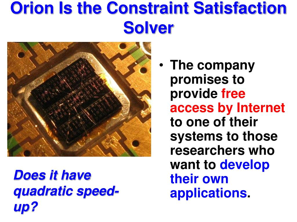 Orion Is the Constraint Satisfaction Solver