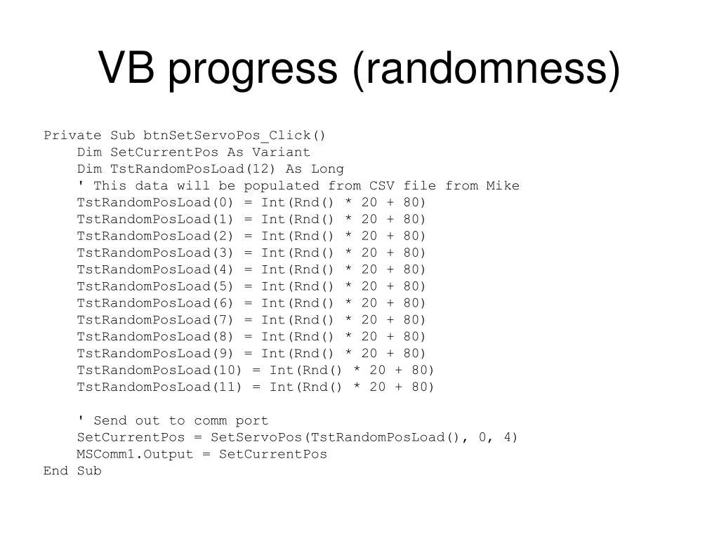 VB progress (randomness)