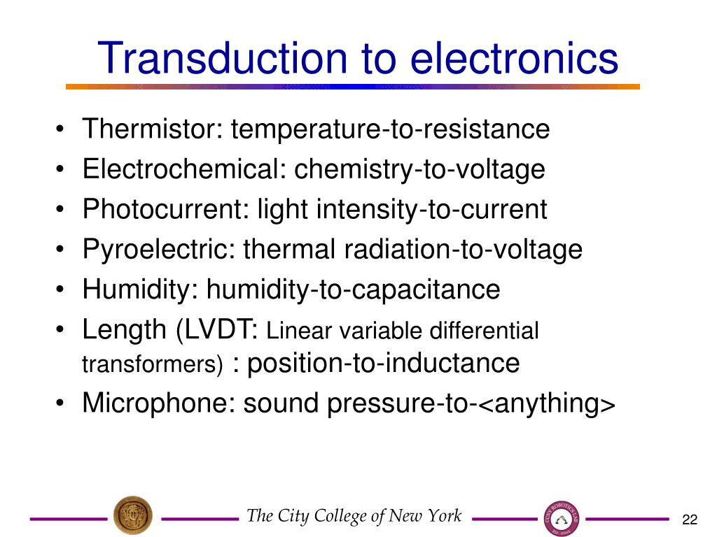 Transduction to electronics