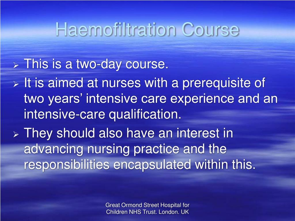 Haemofiltration Course