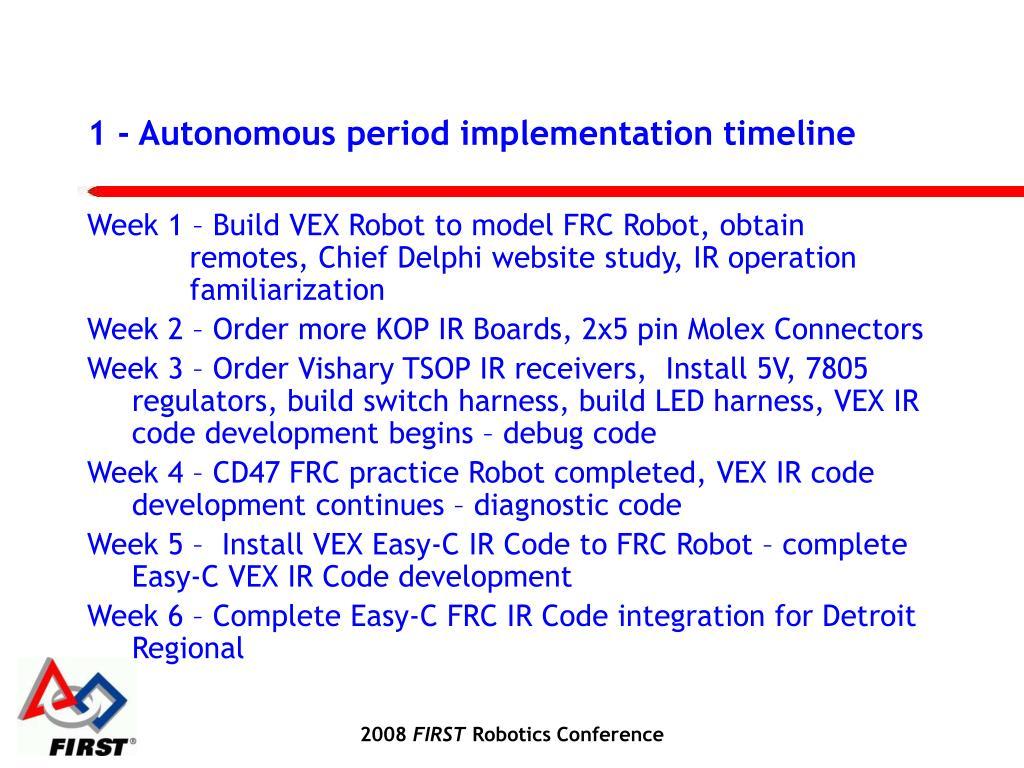 1 - Autonomous period implementation timeline