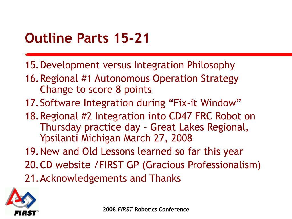 Outline Parts 15-21