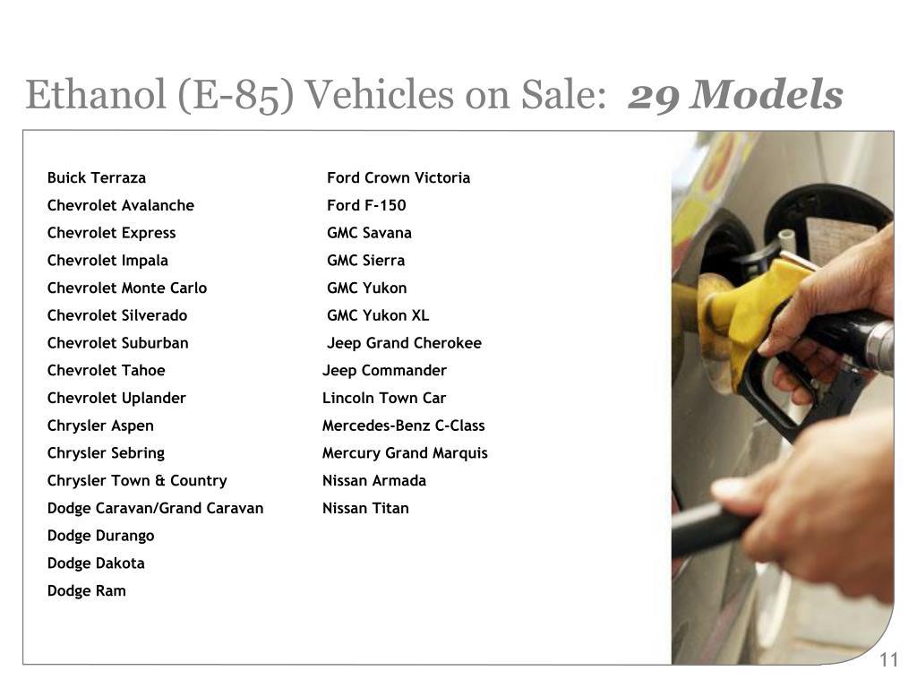 Ethanol (E-85) Vehicles on Sale: