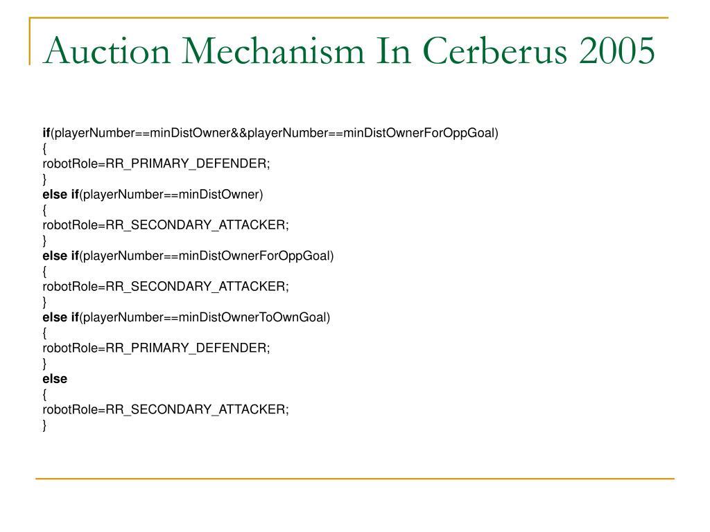 Auction Mechanism In Cerberus 2005