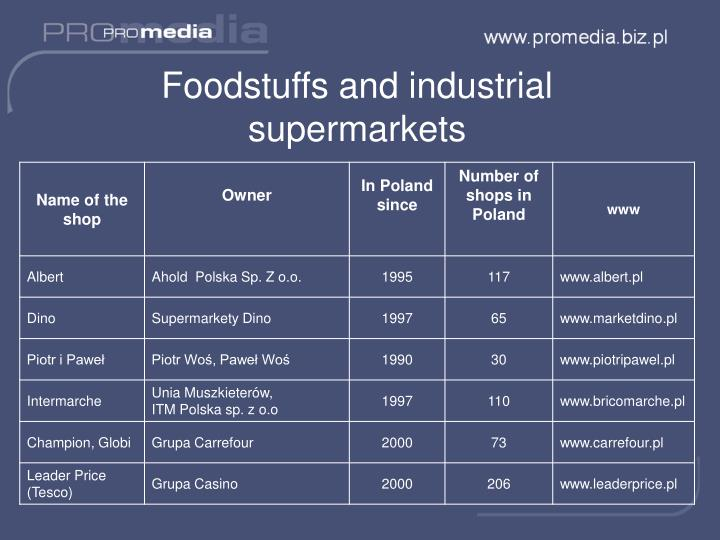Foodstuffs and industrial supermarkets