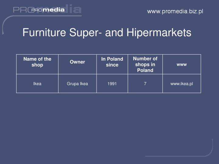 Furniture Super- and Hipermarkets