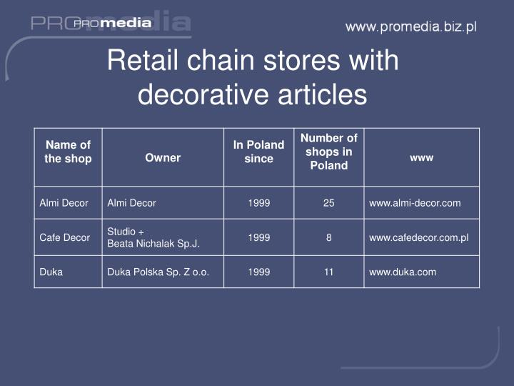 Retail chain stores with decorative articles