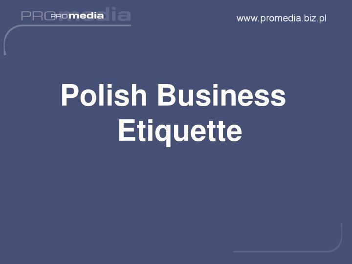 Polish Business Etiquette