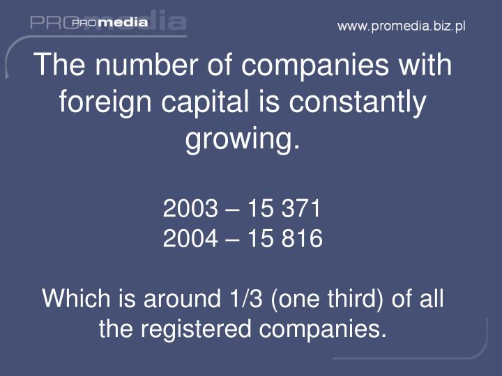 The number of companies with foreign capital is constantly growing.