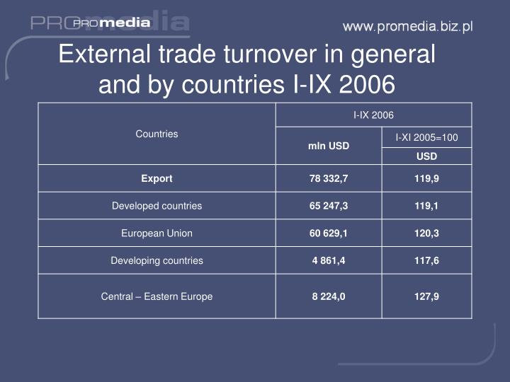 External trade turnover in general