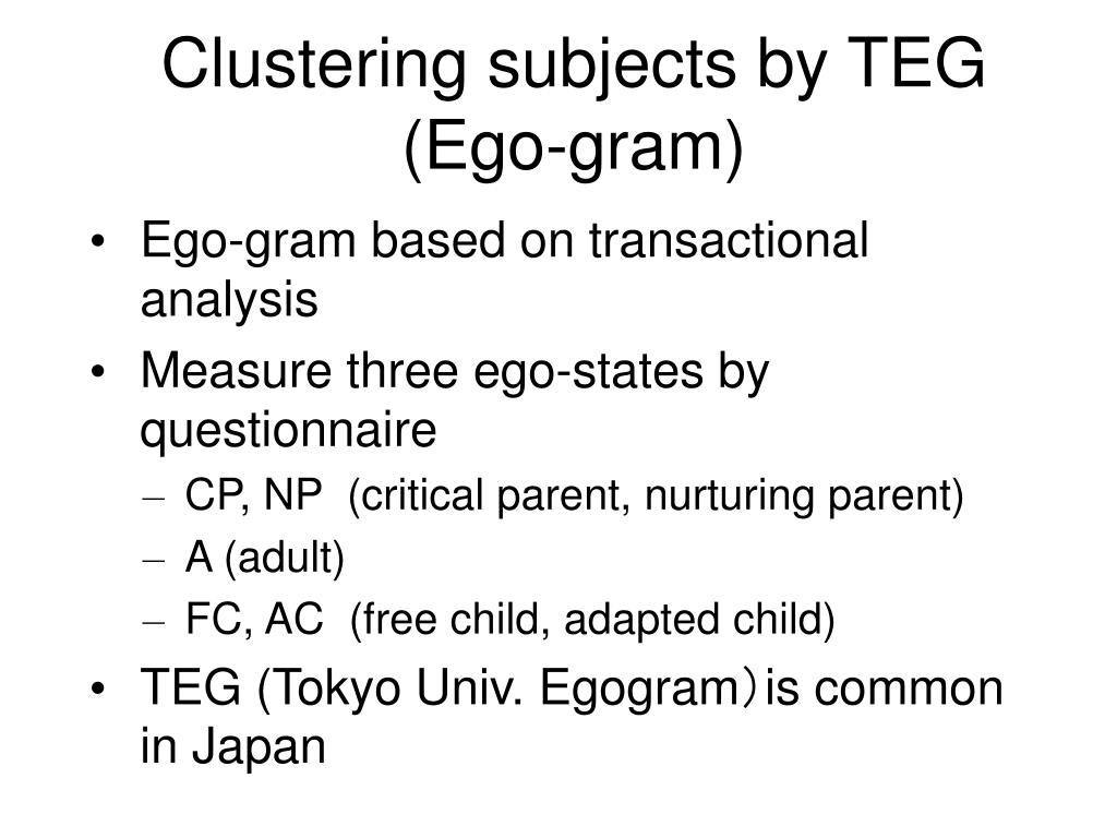 Clustering subjects by TEG