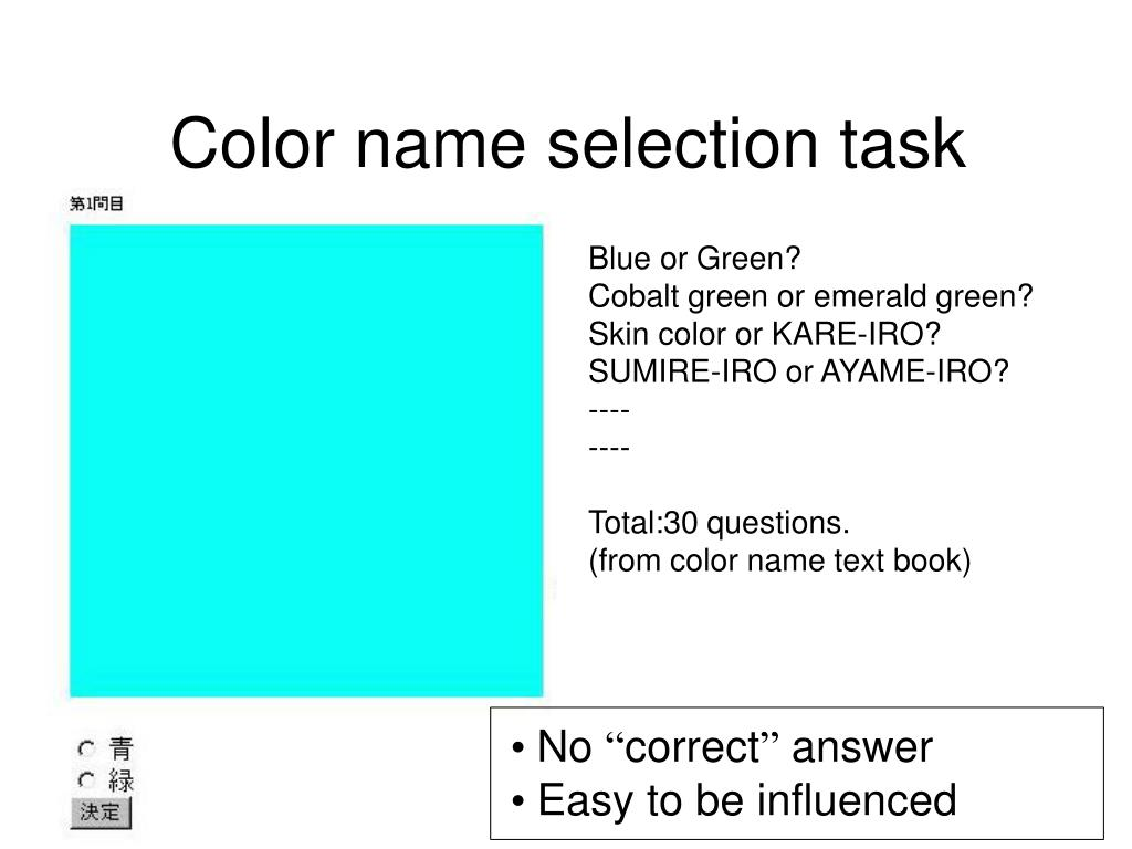 Color name selection task