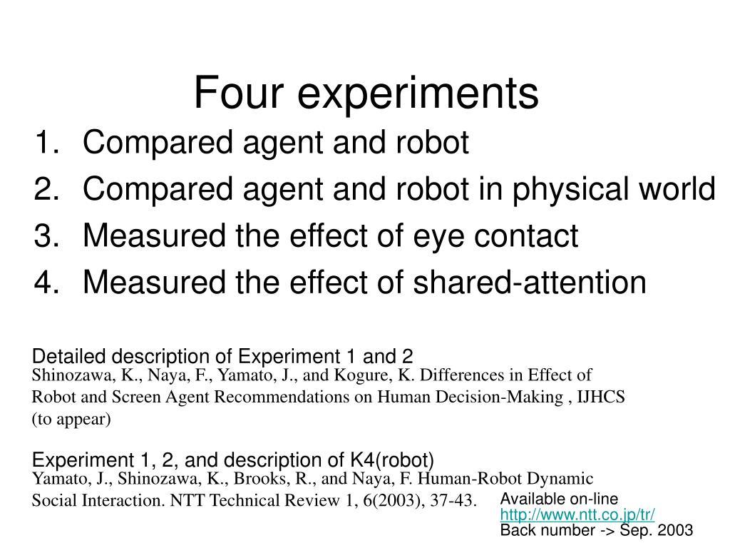 Four experiments