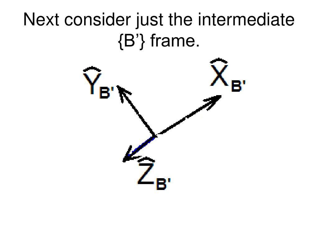 Next consider just the intermediate {B'} frame.