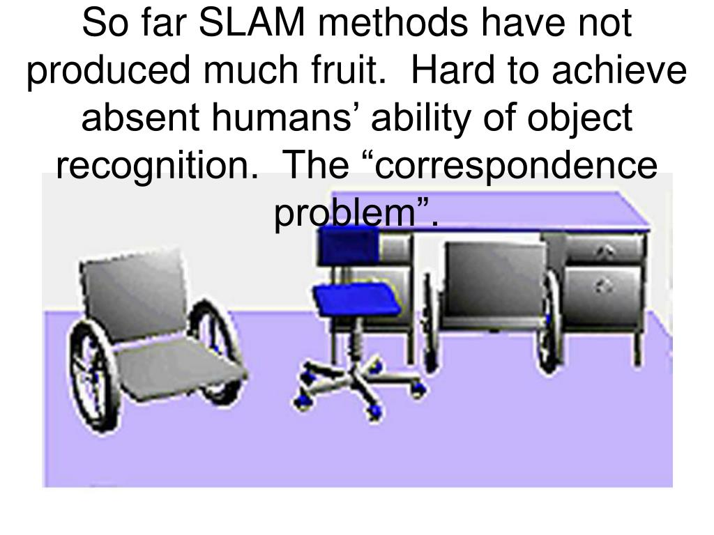 """So far SLAM methods have not produced much fruit.  Hard to achieve absent humans' ability of object recognition.  The """"correspondence problem""""."""