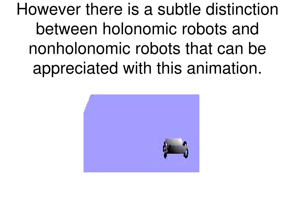 However there is a subtle distinction between holonomic robots and nonholonomic robots that can be appreciated with this animation.