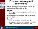first and subsequent references