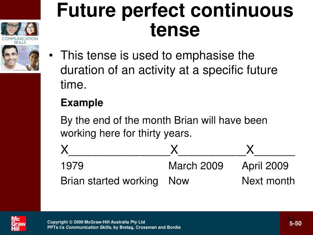 Future perfect continuous tense