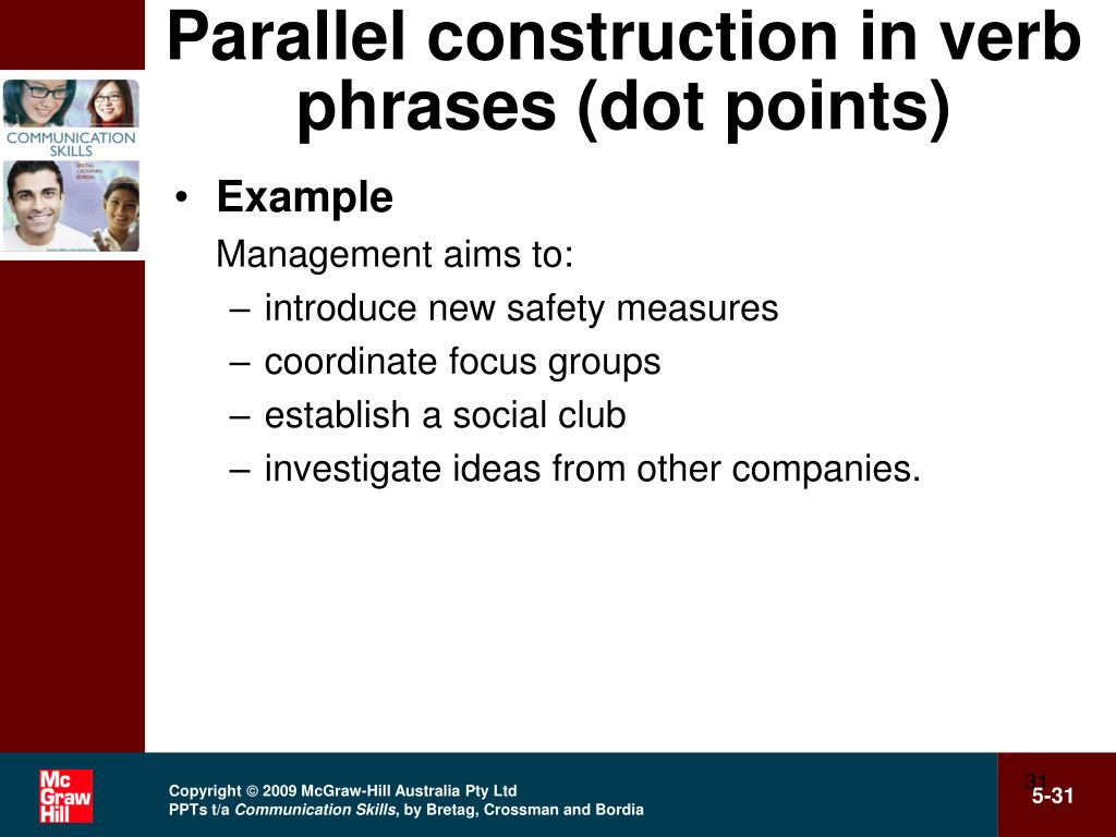 Parallel construction in verb phrases (dot points)