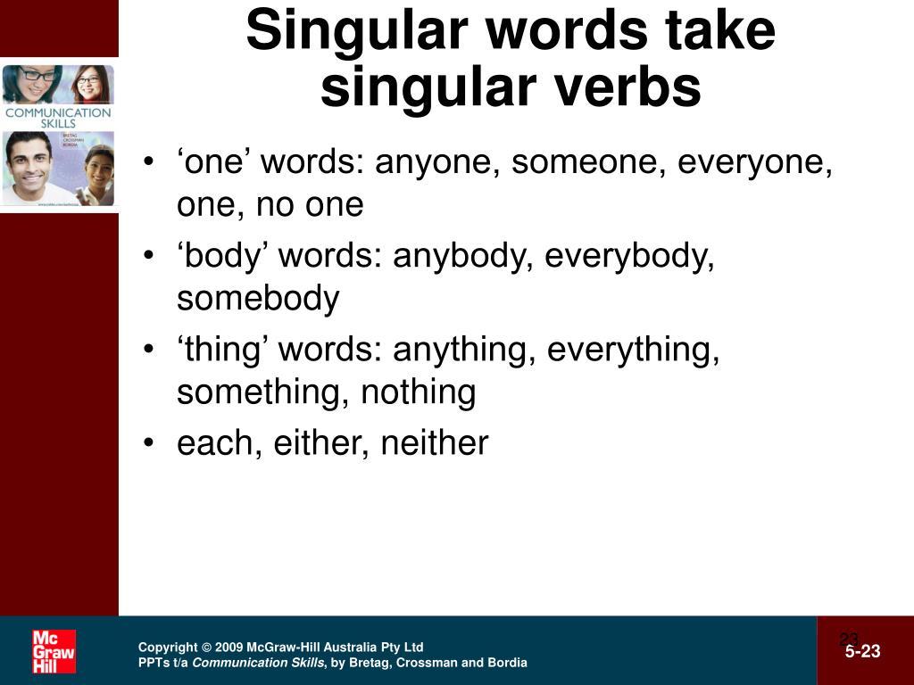 Singular words take singular verbs