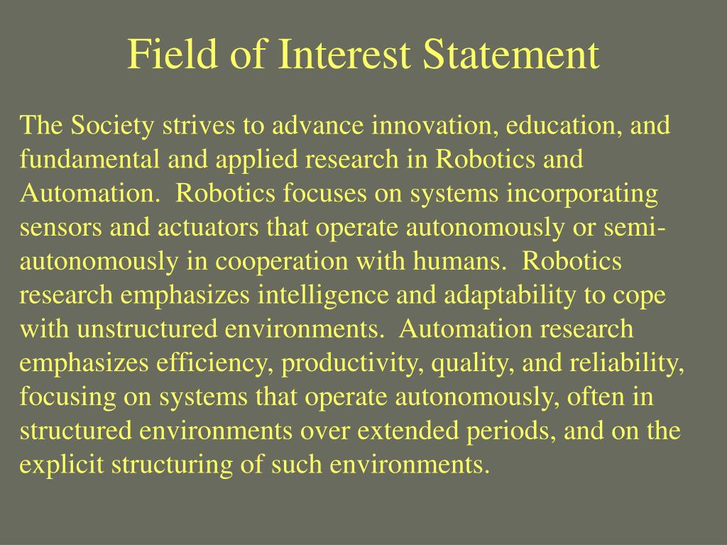 Field of Interest Statement