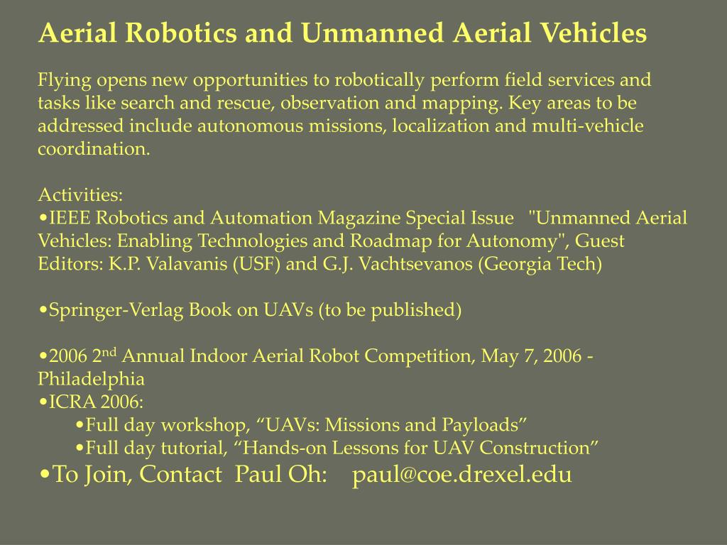 Aerial Robotics and Unmanned Aerial Vehicles