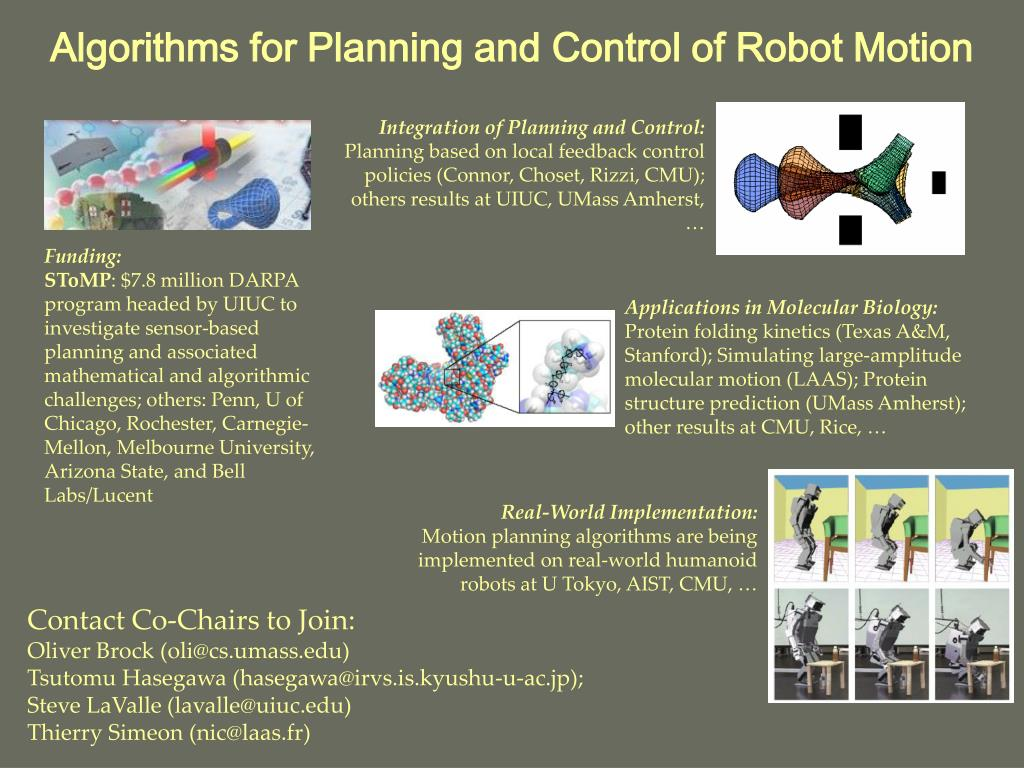 Algorithms for Planning and Control of Robot Motion
