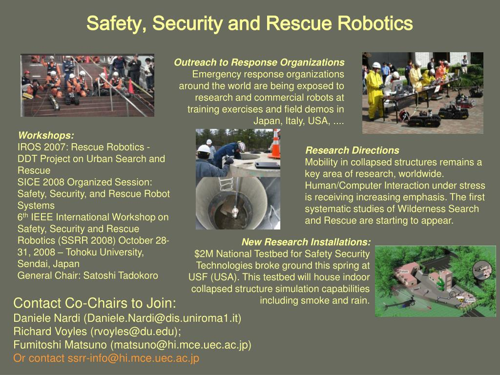 Safety, Security and Rescue Robotics