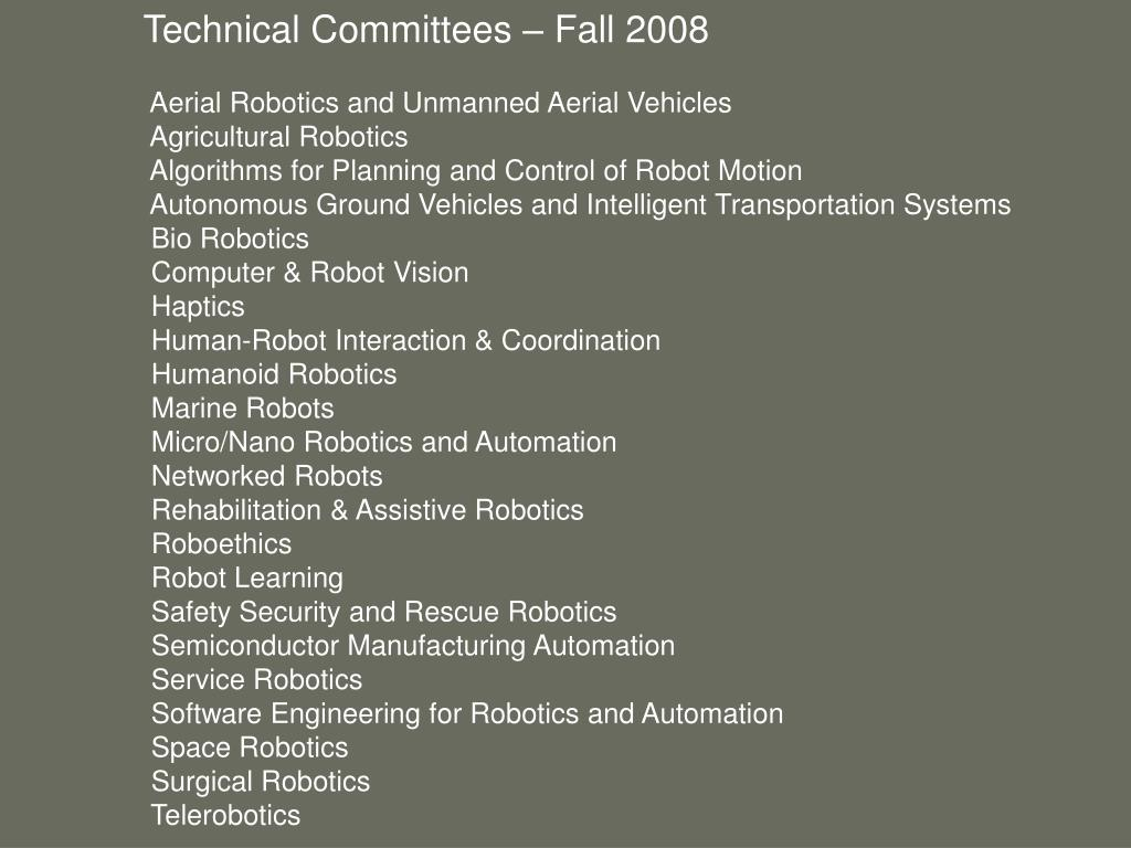 Technical Committees – Fall 2008