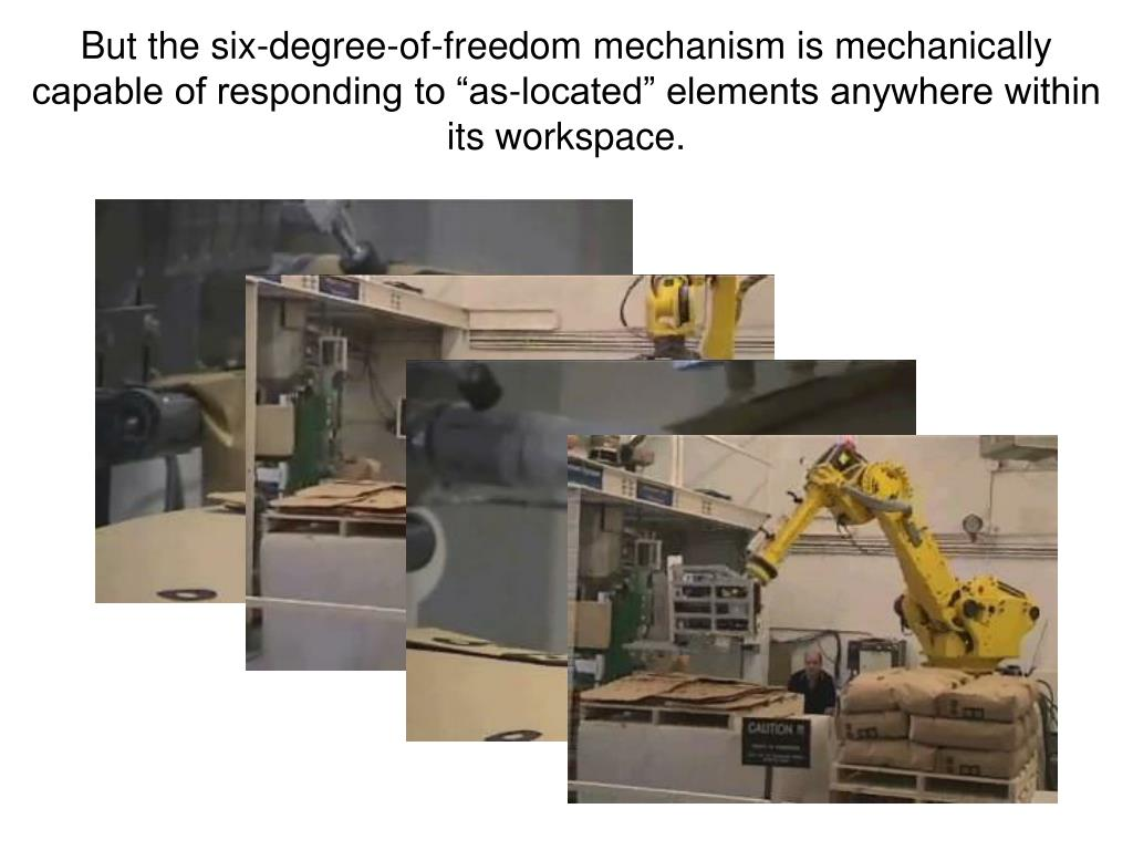 "But the six-degree-of-freedom mechanism is mechanically capable of responding to ""as-located"" elements anywhere within its workspace."