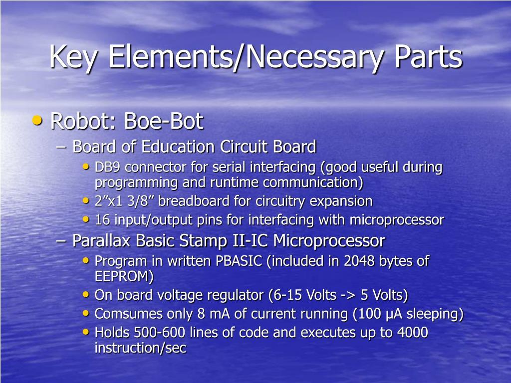 Key Elements/Necessary Parts