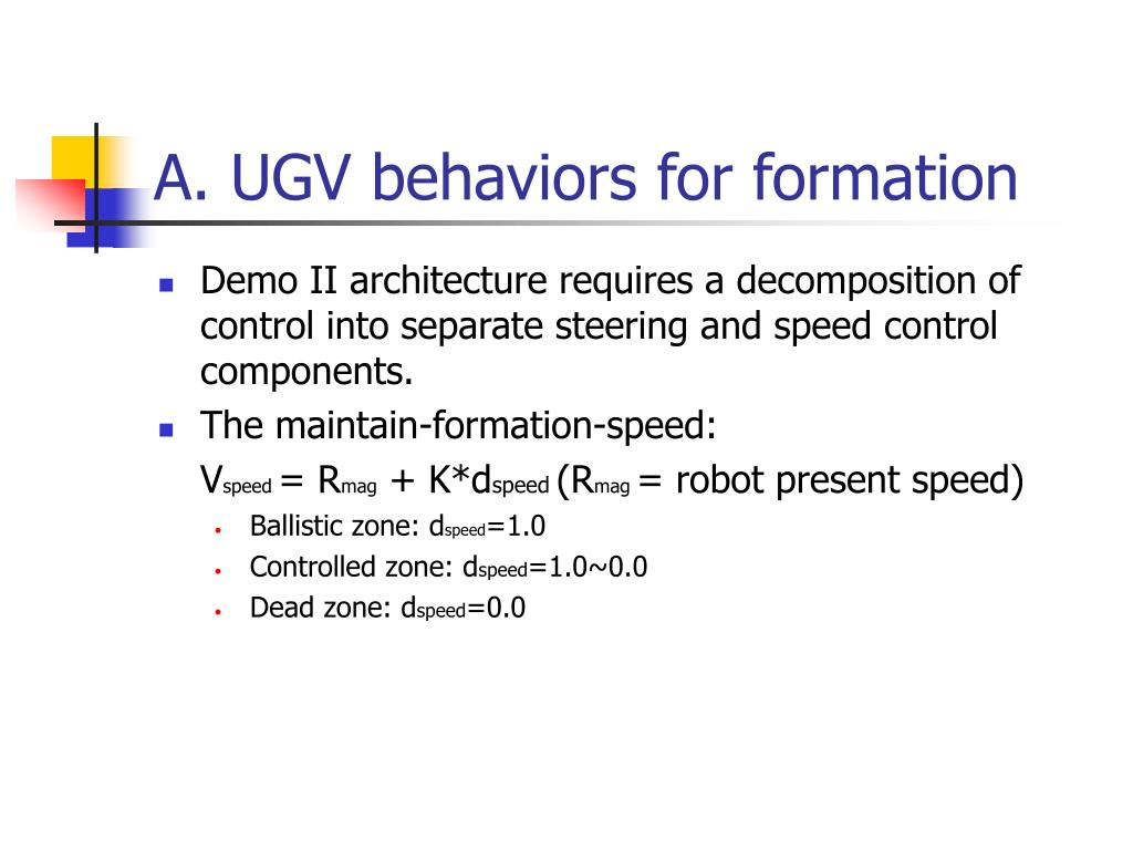 A. UGV behaviors for formation