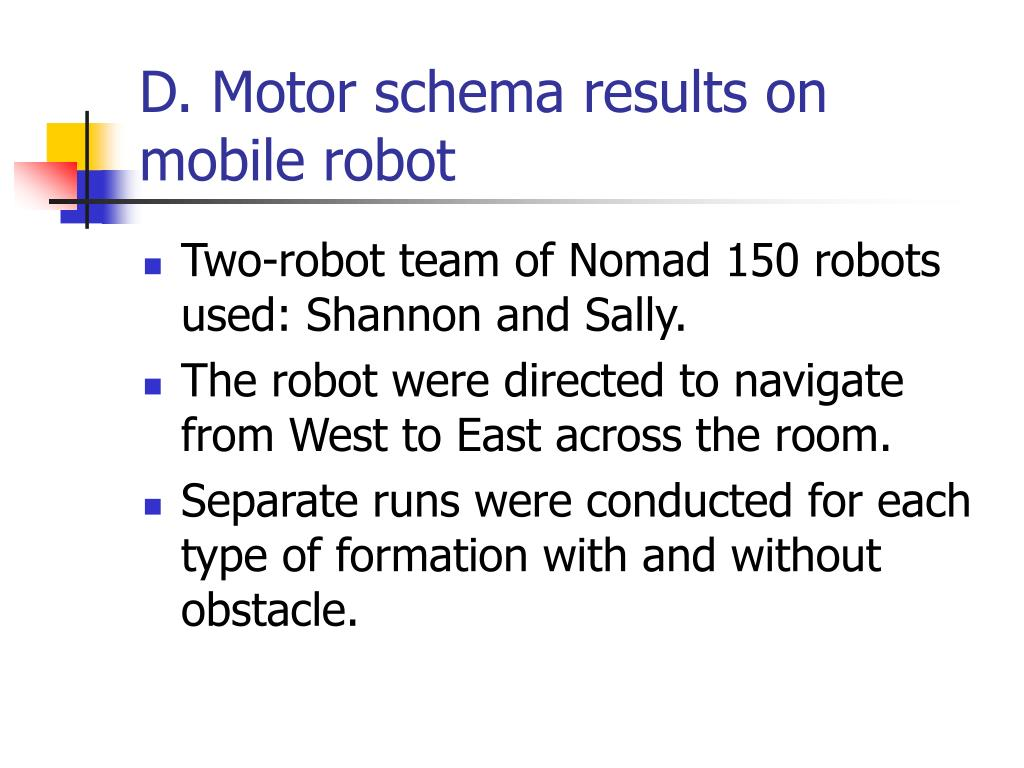 D. Motor schema results on mobile robot