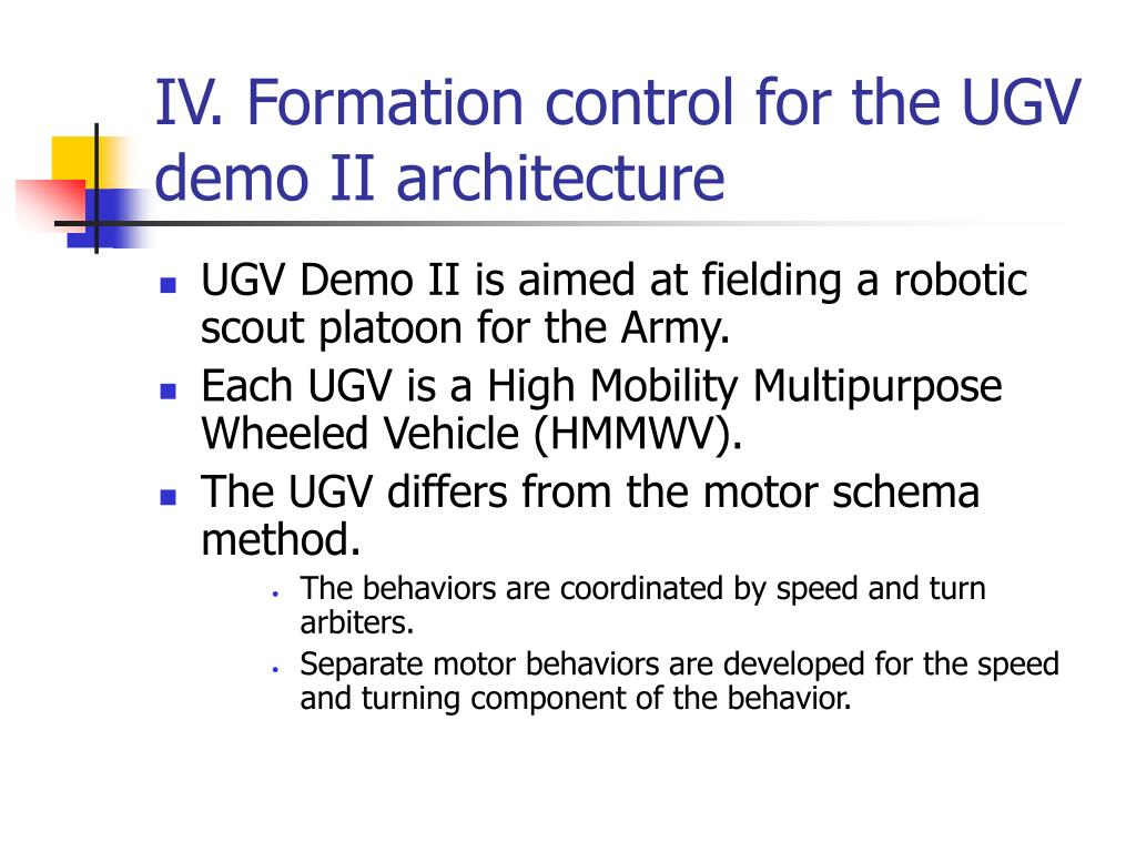 IV. Formation control for the UGV demo II architecture