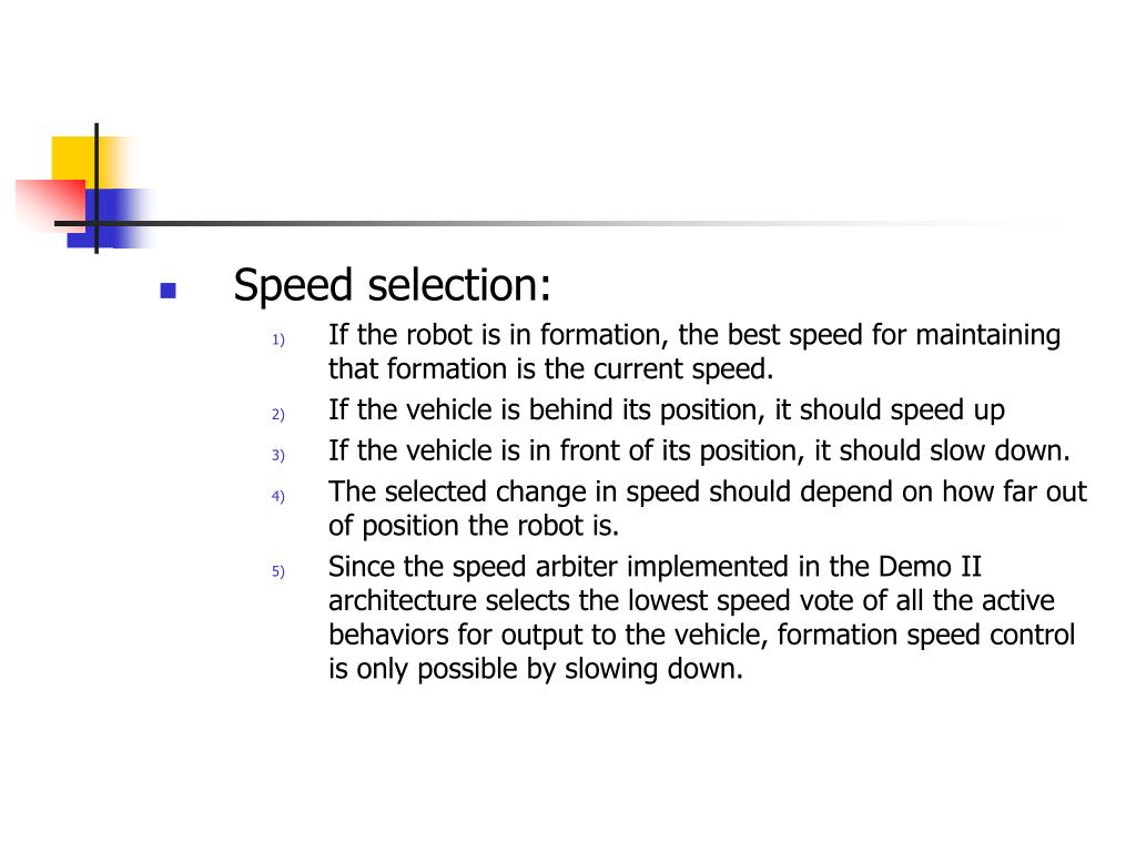 Speed selection:
